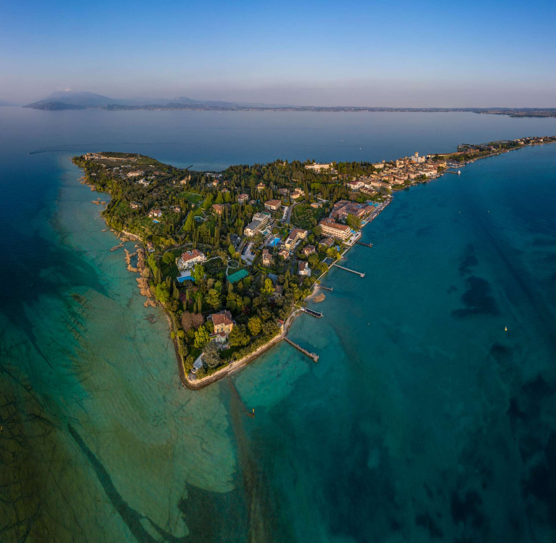 Grotto of Catullus Sirmione Lake of Garda Aerial Drone View 1