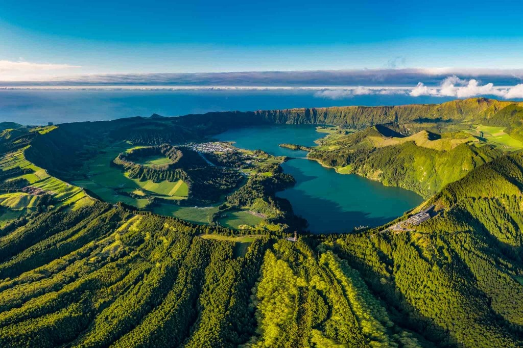 Azores Sao Miguel Sete Cidades Vista do Rei from drone