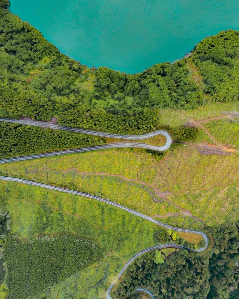 Azores Sao Miguel Sete Cidades panoramic road