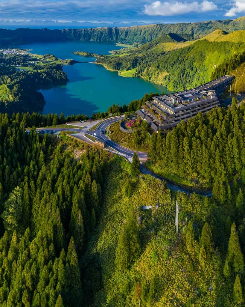 azores sao miguel monte palace abandoned hotel from drone