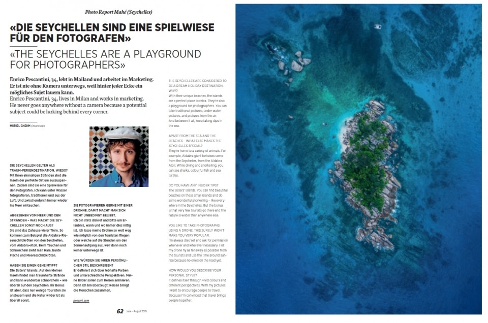 My interview on Edelweiss Travel Magazine of August 2019!