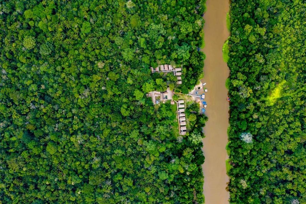 amazon forest iquitos peru drone aerial view village