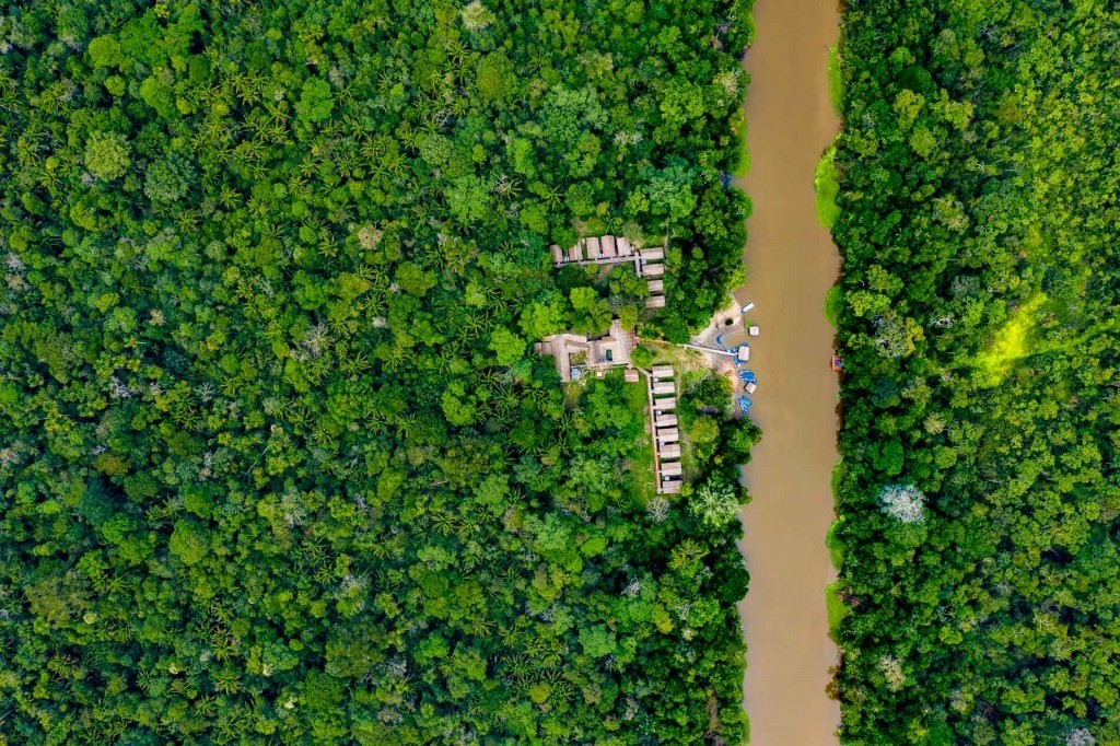 amazon forest iquitos peru drone aerial view village