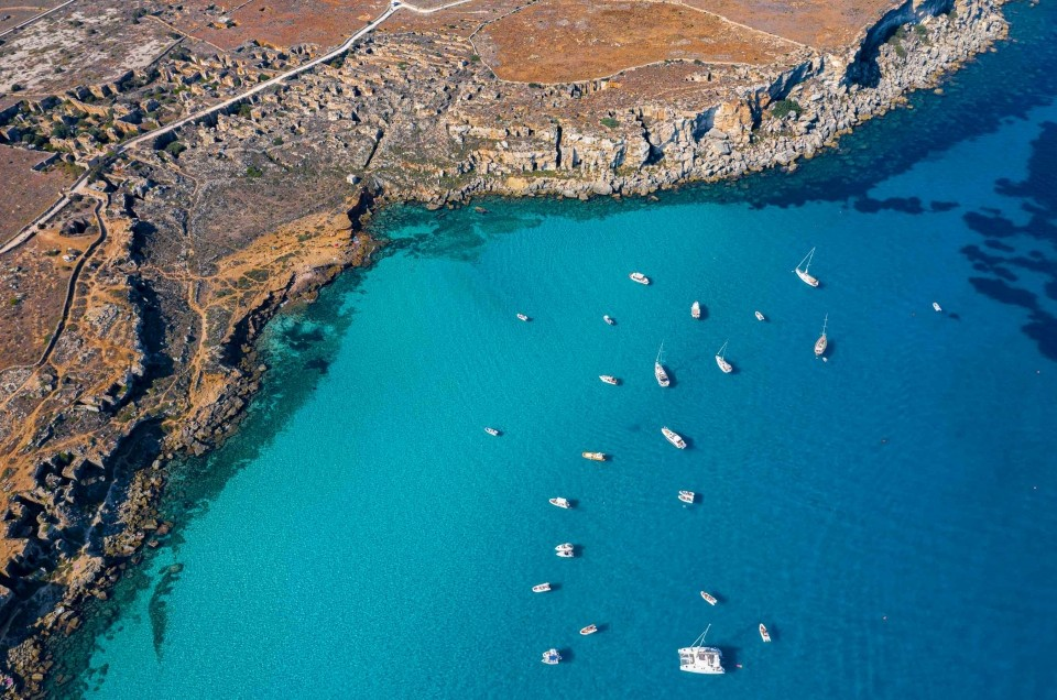 Egadi Islands in Sicily: Levanzo, Favignana and Marettimo from drone