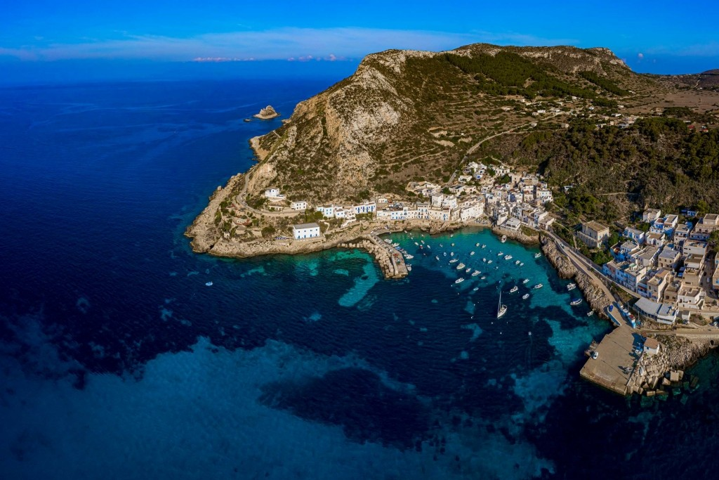 Levanzo town Panorama Drone