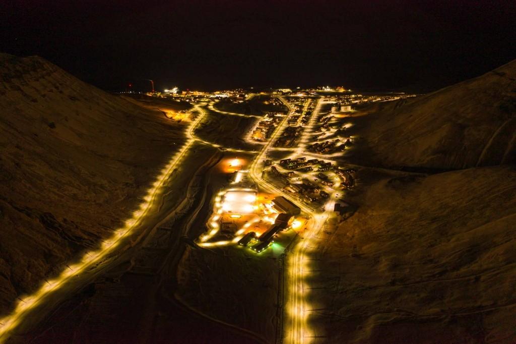 svalbard longyearbyen aerial drone night view