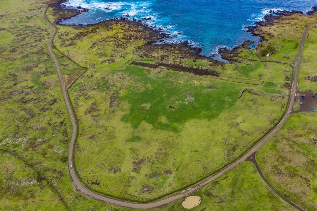 easter island rapa nui Ahu Tongariki drone view