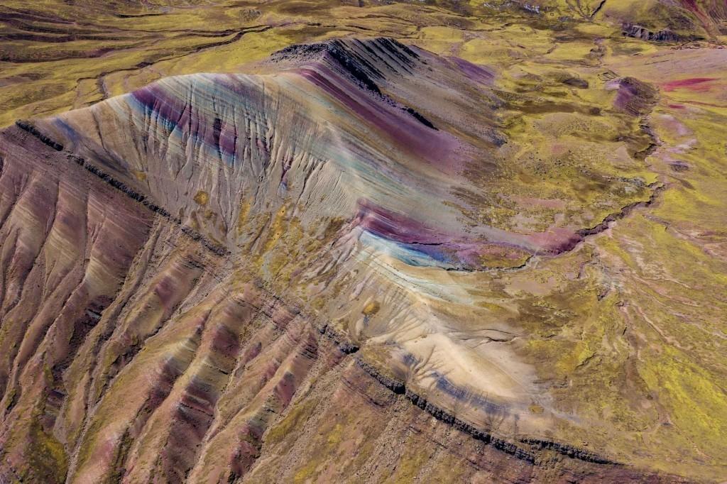 Palcoyo Rainbow Mountain Cusco Peru Aerial Drone