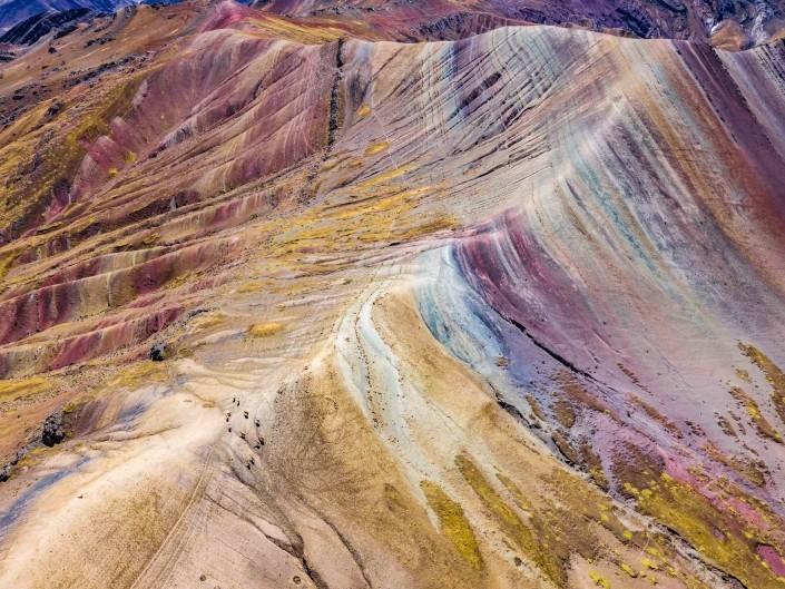 Rainbow Alpaca - Palcoyo Rainbow Mountain Cusco Peru Aerial Drone 2