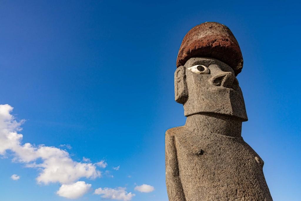 easter island rapa nui hanga roa moai with hat