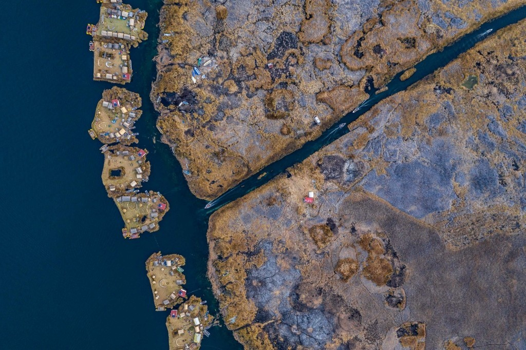 Uros Floating Islands Titicaca Lake Puno Peru aerial drone
