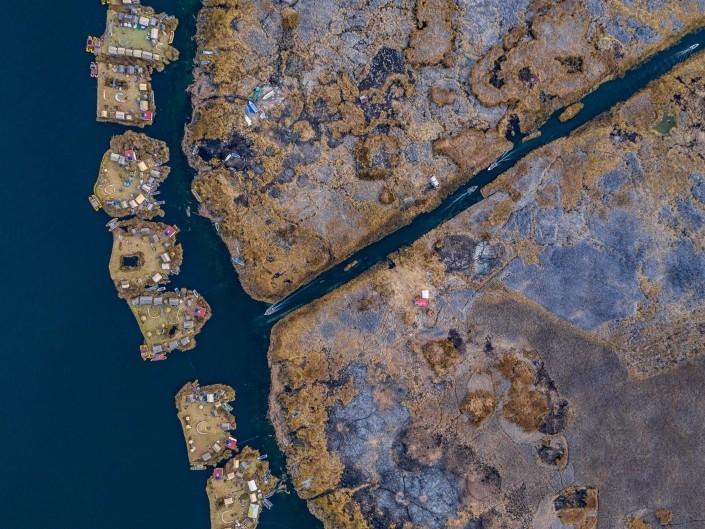 Uros Floating Islands Titicaca Lake Puno Peru aerial drone