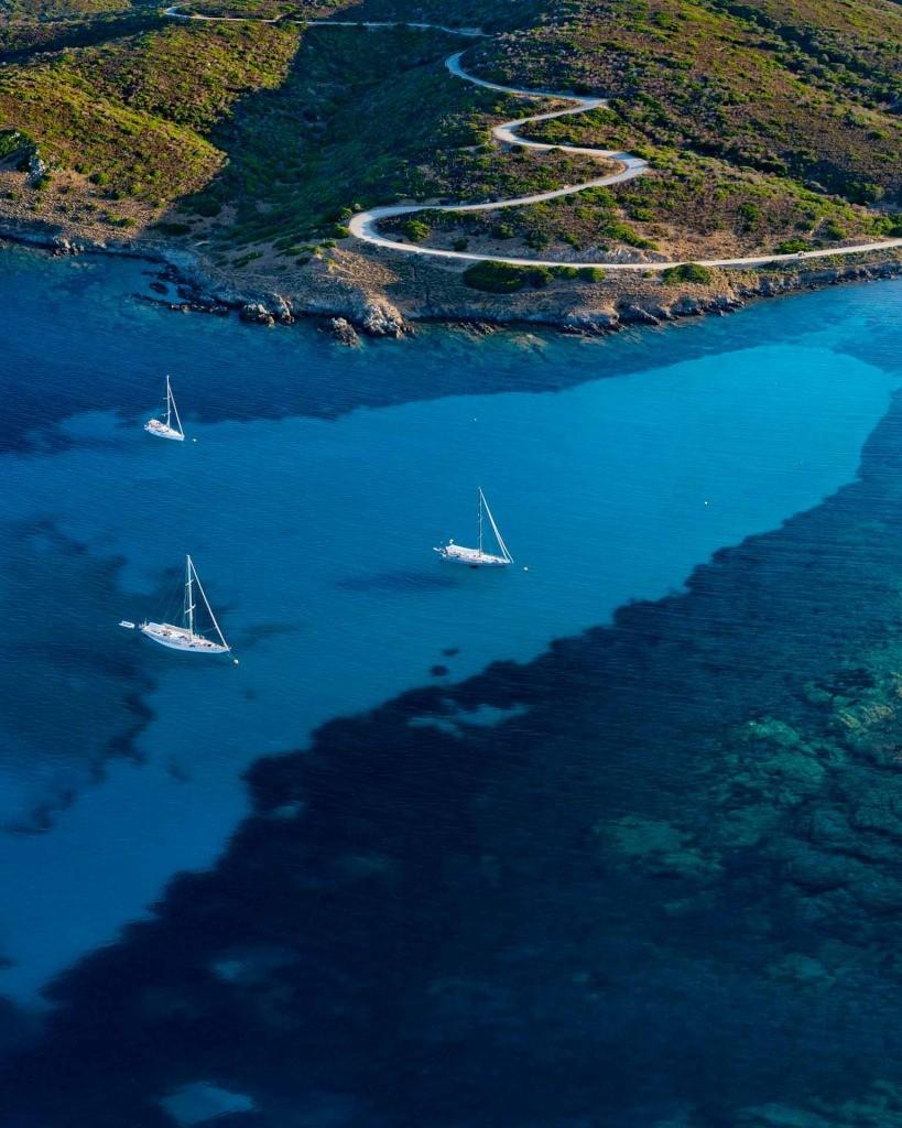 diving asinara national park drone aerial
